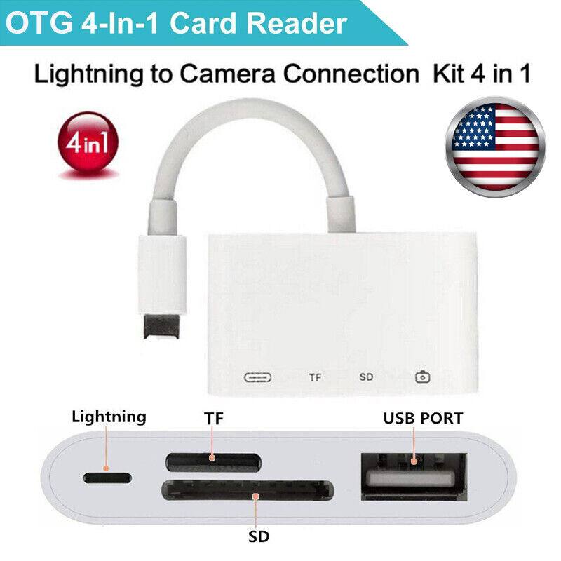 Camera Reader Adapter Lightning to SD TF Card USB PD For iPhone11/XS/XR/8 iPad