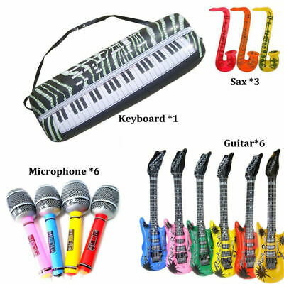 - 16PCS Inflatable Musical Rock Band Instruments Guitar Sax Microphone Keyboard US