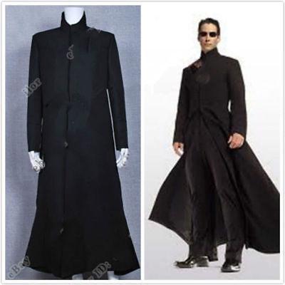 New The Matrix Neo Cosplay Costume Black Trench Coat Custom Made