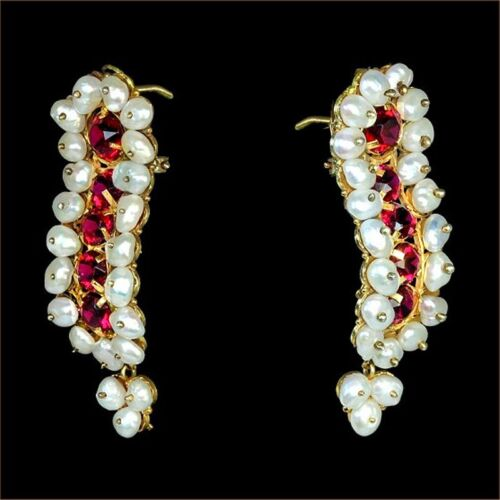 SALE Vibrant yellow gold pearl Frida gusano earrings, red crystals, dangles M-F