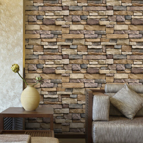 Home Decoration - 3D Wall Paper Brick Stone Effect Self-adhesive Wall Sticker Wallpaper Room HF