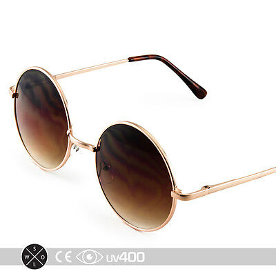 Gold Frame Round Circle Sunglasses Wire Frame Vintage Free Case (Wire Circle Frame)