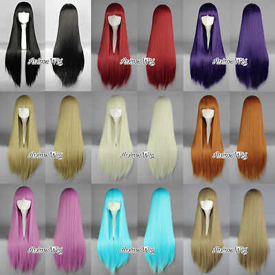 Blue/Red/Purple/Pink/Green Women Long 80CM Straight Cosplay Wig with Bang (Long Red Wig With Bangs)