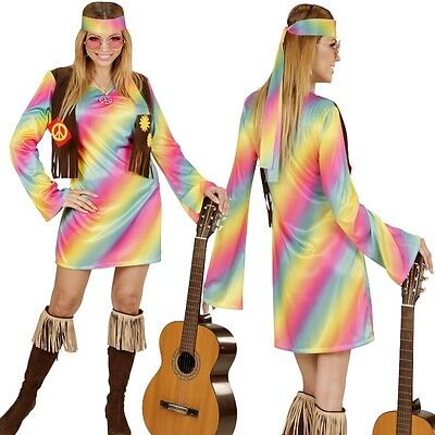 38/40 (M) Damen Kostüm Flower Power 70er Woodstock # 3352 (Rainbow Girl Kostüm)
