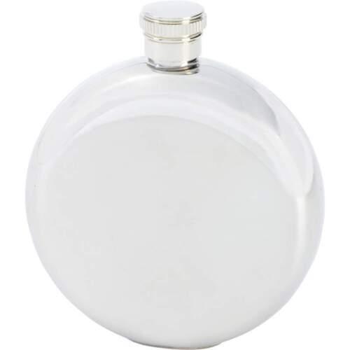 FLASK 5oz Round METALLIC SILVER Stainless Steel Hip Pocket Screw Cap Liquor