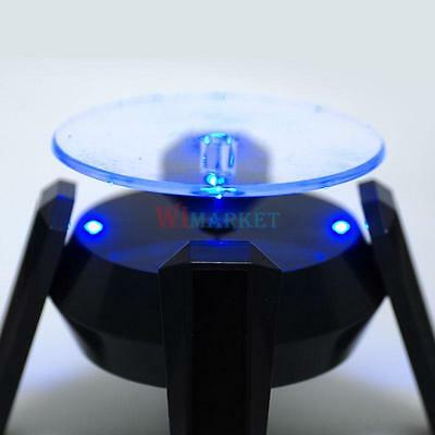 New Solar Powered 360 Watch Jewelry Rotating Display Stand Turn Table Led Light