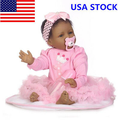 22'' Real LifeLike Bebe Black Reborn Baby Doll Silicone Toddler Gift US 55cm