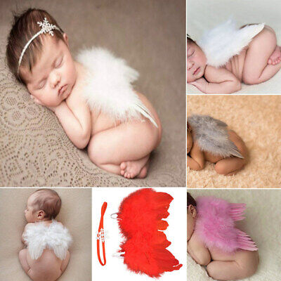 Baby Angel Wings (Girls Boys Newborn Baby Angel Wings Snow Headband Photo Photography Props)