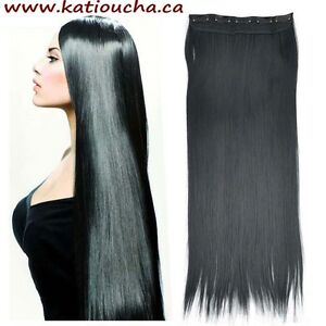 "Clip in hair extension,Straight hair,60 cm, 24"", Color BLACK"