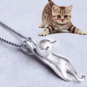 Sterling Silver 1mm Box Chain Necklaces & Cute Cat Pendant