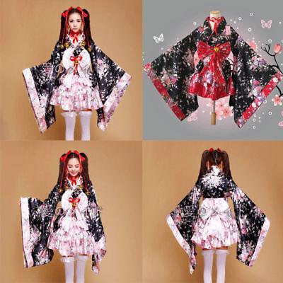 Damen Japanische Costume Kimono Lolita Princess Kirsche Kostüm Anime COSPLAY  (Japanische Kostüme)
