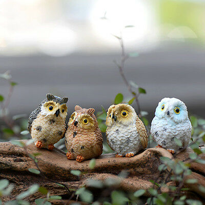 4 Miniature Owls Fairy Garden Bonsai Craft Terrarium Figurine Landscape Decor D