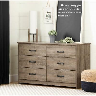 Tassio 6-Drawer Double Dresser-Weathered Oak-South Shore