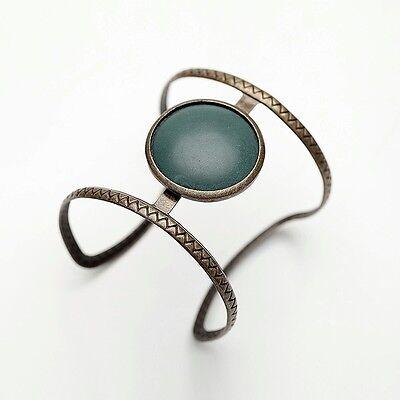 Bohemian Style Round CZ Rhinestones Agate Women's Fashion Jewelry Cuff Bracelet