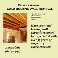 LOAD BEARING WALL REMOVAL ( 35 YEARS STRUCTURAL EXPERIENCE )