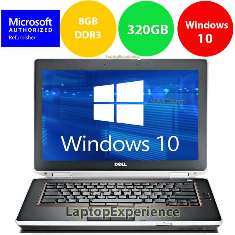 "Laptop Windows - DELL LAPTOP LATITUDE E6420 2.5ghz 8GB 320GB 14"" DVD WINDOWS 10 WIN WiFi HDMI PC"