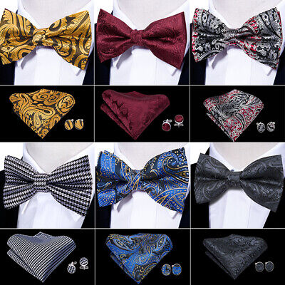 USA Gold Black Blue Red Tie Bowtie Set Paisley Solid Printed Pre-tied -