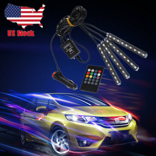 RGB 7 Color 4x 9 LED Neon Strip Light Music Control For Car