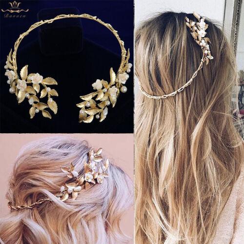 Baroque Gold Pearls Brides Tiaras Crowns Wedding Hair Accessory Bridal Headbands