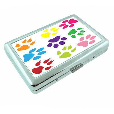 (Dog Paw Prints Em1 Silver Metal Cigarette Case RFID Protection Wallet)