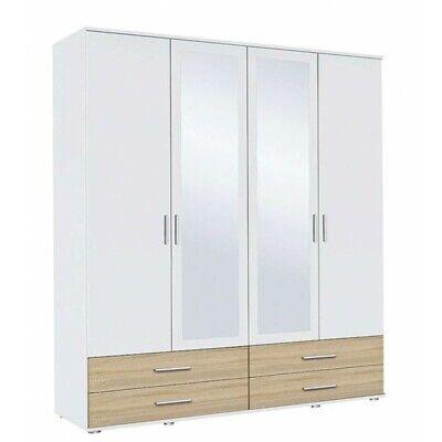 Rasant - Armadio 4 ante battenti, specchio, 4 cassetti, laminato bianco e rovere