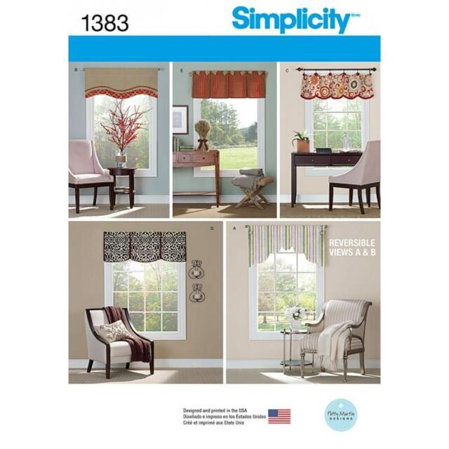 """SIMPLICITY SEWING PATTERN VALANCES FOR 36"""" TO 40"""" WINDOWS 1383"""
