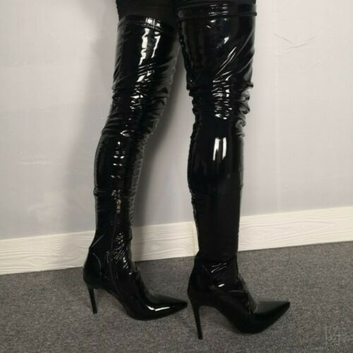 Occident Womens Patent Shiny Leather Mid Calf Boots Stiletto Pointy Toe Shoes SZ