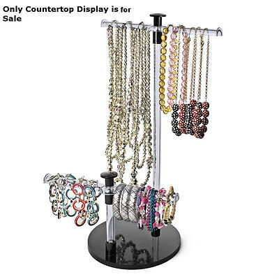 Retail 19h Clear Acrylic 2-tiered Braceletnecklace Countertop Display Bar
