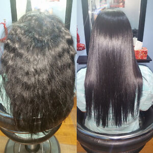 Japanese hair straightening rebonding olaplex keratin treatment Windsor Region Ontario image 8