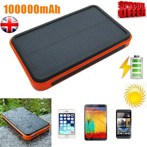 100000mAh Portable Waterproof Solar USB Charger Power Bank For Tablets Phones UK