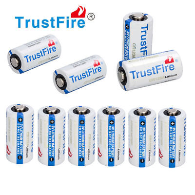 10pcs TrustFire CR123A 1400mAh 3V Lithium Battery Non-Rechargeable Batteries USA ()