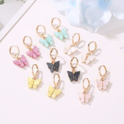 Cute Butterfly Acrylic Insect Earrings Women Boho Dangle Drop Earring Jewelry