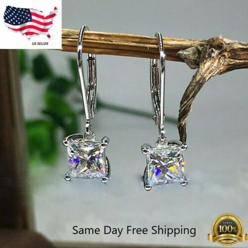Elegant 925 Silver Jewelry Drop Earrings for Women White Sapphire A Pair/set