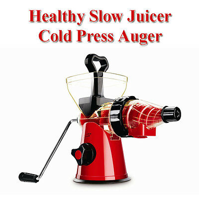 1 SLOW JUICER MANUAL MASTICATING AUGER WHEATGRASS COLD PRESS HEALTHY FRUIT JUICE