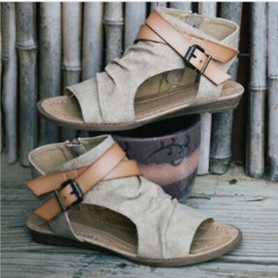 Women's Roman Gladiator Flats Sandals Hollow Fashion Back Zipper Shoes, Sizes