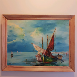 Painting in wooden frame ( 21 inches H x 27 inches W)
