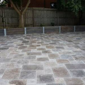 Silver Travertine Tumbled Paver French Pattern 30