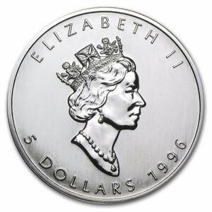 1996 $5 1 Oz Silver Coin Maple Coin