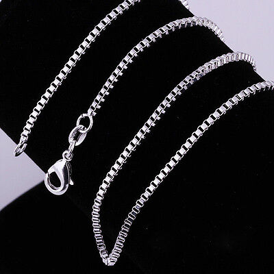 (925 Sterling Silver Plated Square Box Chain Necklace for Charms Pendants 16-30