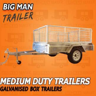 ※6x4 Single Axle Box Trailer With Cage Galvanised ※