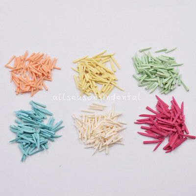 100pcs Dental Fixing Wooden Wedges Interdental Tip Composite Contoured 6 Colors
