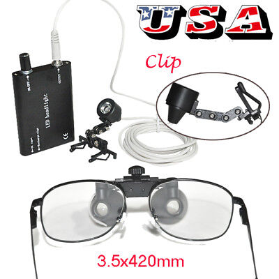 Dental Loupes Metal Surgical Binocular Loupe 3.5x 420mm Clip-on Led Head Light