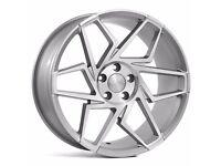 """19"""" Veemann V-FS27R 5x112 Silver with a polished face for Golf MK5 MK6 MK7 Jetta Caddy ETC"""