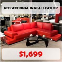 SALE - Red real leather sectional