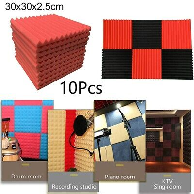 "10 Pack Acoustic Foam Panel Wedge Studio Soundproofing Wall Tiles 1"" x 12"" x 12"""