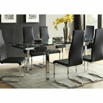 Coaster Glass Top Dining Table in Chrome ()