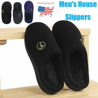 Men's Memory Foam Slippers Comfort Knitted Closed Toe Indoor