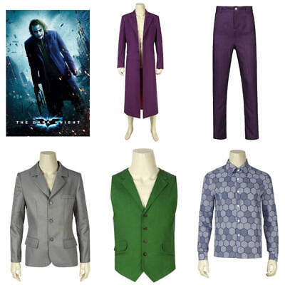 Marvel Superhero Joker Cosplay Heath Ledger Costume Outfits Halloween Warm