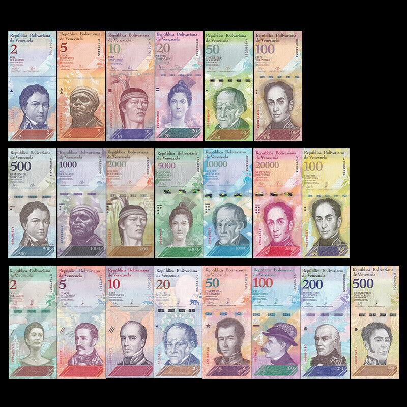 100,000 New 2016-2017 Unc Venezuela 500-100000 7 Pieces Pcs Set Bolivares