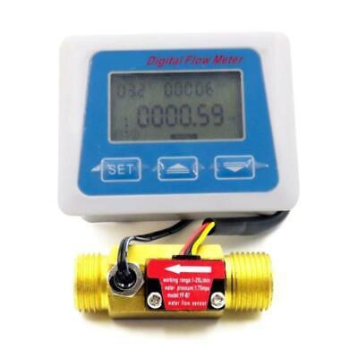 Digital Lcd Display Water Flow Sensor Meter Flowmeter Rotameter Temperature Tool